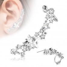 Piercing fals pentru urechi din oțel inoxidabil de culoare argintie, rodiu - stele transparente strălucitoare