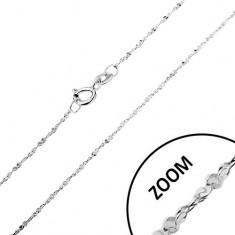 Lanț realizat din argint 925 - linie răsucită, zale unite în spirală, lățime 1,2 mm, lungime 550 mm