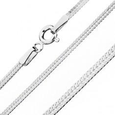 Lanţ din argint 925, ochiuri plate dispuse diagonal, lăţime 1,8 mm, lungime 550 mm