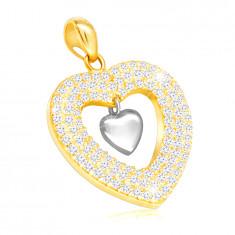 Pandantiv din aur combinat 585 - inimă lucioasă și un contur al inimii cu zirconii clare