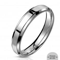 Inel din oțel de culoare argintie - dunga cu un finisaj lucios, 4 mm