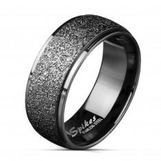 Verigheta din oțel de culoare neagră - dunga largă împodobită cu sclipici, 8 mm