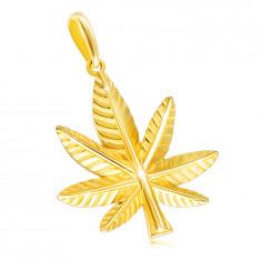 Pandantiv din aur galben 14K - frunză de cannabis cu crestături