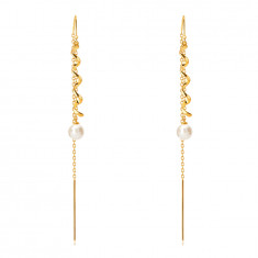 Cercei din aur 585 - spirala lucioasă, perlă de culoare albă