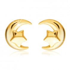 Cercei din aur 585 - semilună cu o stea