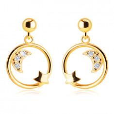 Cercei din aur galben 14K - jumătate de lună cu zirconii și o stea în cerc