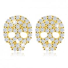 Cercei din aur galben 14K - un craniu cu zirconii în nuanță limpede