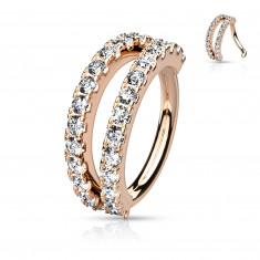 Piercing în formă de inel metalic - pavat cu zirconii transparente