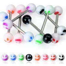 Piercing limbă - smiley colorat
