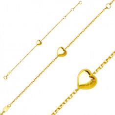 Brățară pentru copii din aur galben de 9K - inimă netedă strălucitoare, închidere cu inel cu arc