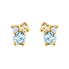 Cercei din aur de 14K - pietre de diferite dimensiuni, citrin, albastru și topaz elvețian