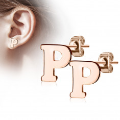 """Cercei din oțel în culori de cupru - litera alfabetului """"P"""", închidere de tip fluturaș"""