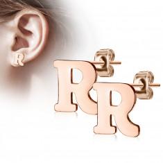 """Cercei din oțel în culori de cupru - litera alfabetului """"R"""", închidere de tip fluturaș"""