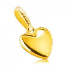 Pandantiv din aur galben 585 - inimă netedă, suprafață strălucitoare, clemă ovală
