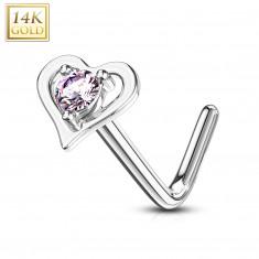 Piercing curbat nas realizat din aur alb 14K - contur în formă de inimă cu zirconiu roz