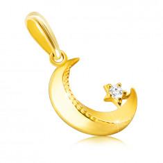 Pandantiv din aur de 14K - lună cu margini teșite, zimțat, mic zirconiu rotund