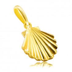 Pandantiv din aur galben de 14K - scoică, suprafață lucioasă și netedă