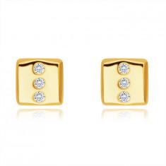 Cercei din aur de 14K - dreptunghi cu trei zirconii rotunde, închidere de tip fluturaș