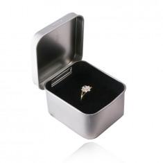 Cutie cadou din tablă pentru bijuterii - culoare argintie, suprafață din satin