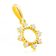 Pandantiv din aur de 14K - inel cu cleștișori subțiri, zirconii rotunzi sclipici