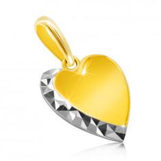 Pandantiv din aur combinat de 14K - inimă netedă, linie sclipitoare