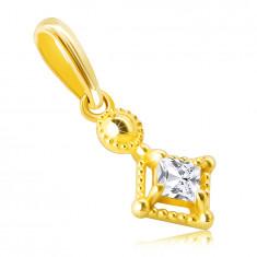 Pandantiv din aur de 14K - mic zirconiu strălucitor în formă de pătrat într-o ramă decorativă