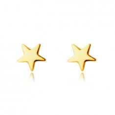 Cercei din aur galben de 14K - stea cu cinci colțuri, suprafață netedă strălucitoare, închidere de tip fluturaș