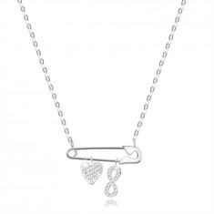Colier din argint 925 - ac de siguranță cu pandantive în formă de inimă și simbol infinit, zirconii limpezi