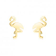 Cercei din aur 14K - flamingo pe un picior, suprafață netedă, închidere de tip fluturaș