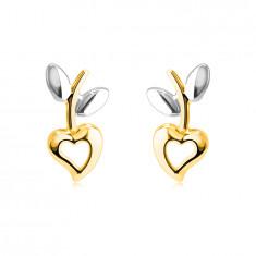 Cercei din aur combinat de 14K - inimă cu decupaj, tulpină cu frunze, închidere de tip fluturaș