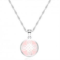 Colier din argint 925 - pandantiv în formă de inel, motiv celtic, fond roz