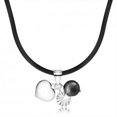 Colier - curea de cauciuc cu pandantive din argint 925, inimă, perlă, floare