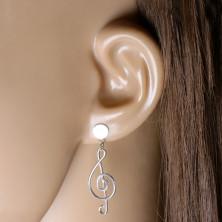 Cercei din argint 925 - motiv muzical, cheie de sol