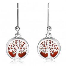 Cercei din argint 925 - inel neted, copac al vieții pe fond roșu