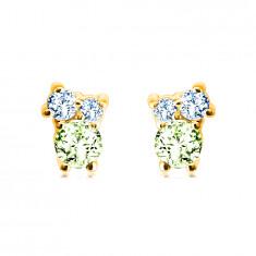 Cercei din aur de 14K - pietre de diferite dimensiuni, olivin, topaz albastru