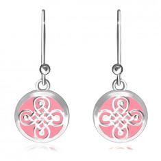 Cercei din argint 925 - inel neted, model celtic pe fond roz
