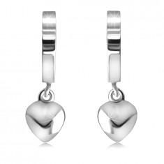 Cercei din argint 925 - cercuri lustruite cu oglinzi, cu o inimă, suprafață netedă
