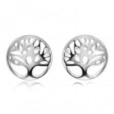 Cercei din argint 925 - copac al vieții într-un inel cu o suprafață decupată strălucitoare