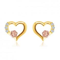 Cercei din aur de 14K - contur de inimă, zirconii rotunzi limpezi, floare decorativă din aur roz