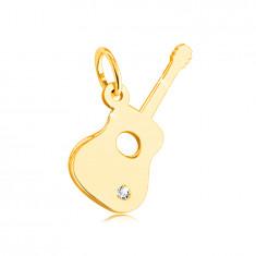 Pandantiv din aur galben de 14K - chitară cu un zircon clar în partea inferioară