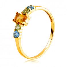 Inel din aur galben de 14K - citrin unghiular, olivin rotund și topaz elvețian