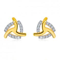 Cercei din aur galben 14K - trei brațe curbate, contur triunghiular zirconii