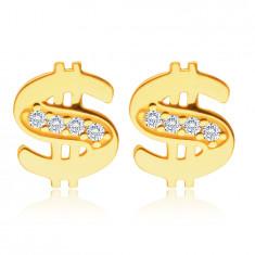 Cercei din aur galben de 14K - semn de dolar împodobit cu diamante strălucitoare