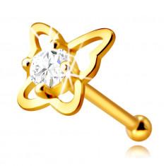 Piercing din aur galben de 14K pentru nas - contur de fluture cu un diamant, de 2,0 mm