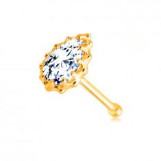 Piercing din aur galben 9K pentru nas - lacrimă strălucitoare din diamant, margine cu crestături