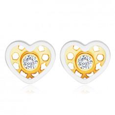 Cercei din aur combinat de 14K - inimă, diamant rotund strălucitor