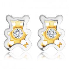 Cercei din aur 585 - ursuleț de pluș cu un diamant clar