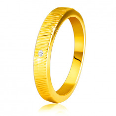Inel din aur galben de 14K - crestături decorative fine, diamant clar strălucitor, 1,5 mm