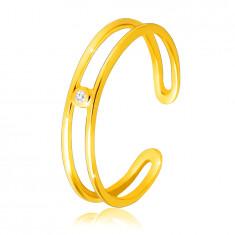 Inel din aur galben de 14K - brațe subțiri, diamant strălucitor