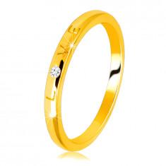 """Inel din aur galben de 14K - scris """"LOVE"""" cu o suprafață strălucitoare și netedă, 1,5 mm"""